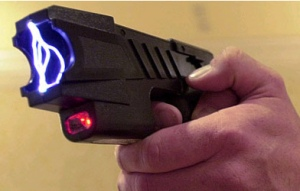Picture of a Taser being discharged.