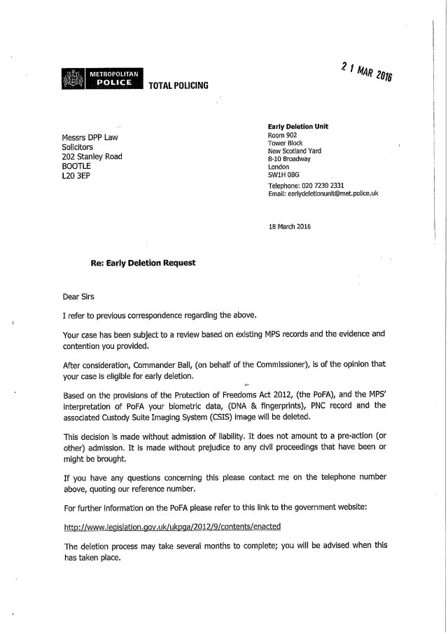 The Metropolitan Police wrote this letter to solicitor Iain Gould about deletion of records from their police systems.