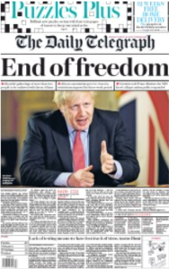 End of freedom headline in The Telegraph newspaper