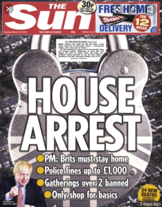 House arrest headline in the Sun newspaper