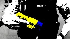 Image of police officer holding a taser